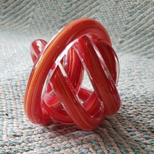 Twisted glass paperweight